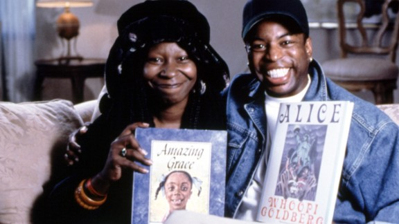 """The TV show, which aired from 1983 to 2009, often drew celebrities such as Whoopi Goldberg. Here, Goldberg and Burton promote """"Amazing Grace"""" by Mary Hoffman as well as the actress"""