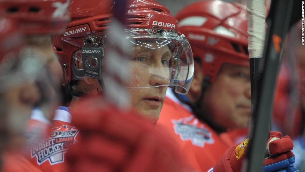 Russian President Vladimir Putin participates in a hockey match featuring amateur hockey players and professional stars in Sochi, Russia, on Saturday, May 10.