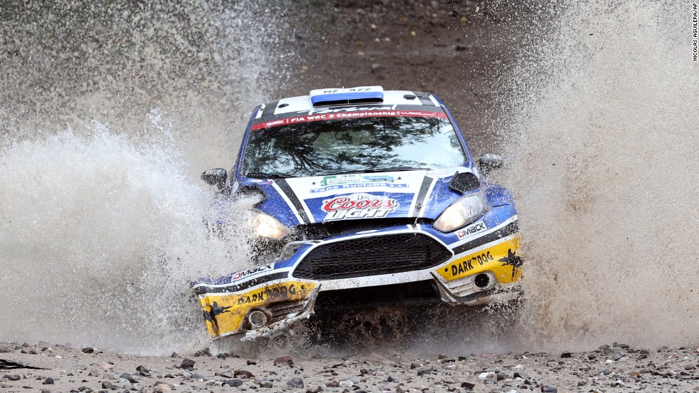 MZR driver Miguel Angel Zaldivar and co-driver Fernando Mendonca, both from Paraguay, steer their car on Friday, May 9, the first day of the FIA WRC Argentina Rally in Agua de Oro, Argentina.
