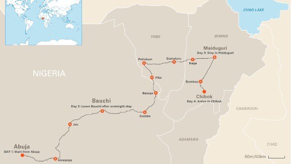 Map: Nima Elbagir's route to Chibok