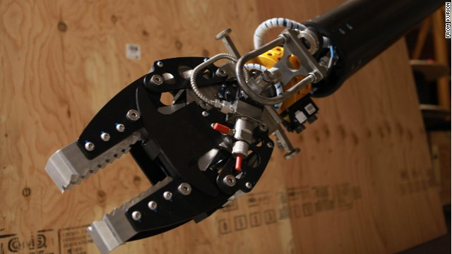 This robotic arm is equipped with radiation-shielded cameras and is capable of lifting 100 pounds.
