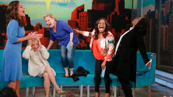 "Guest co-host Sunny Hostin, from left, Walters, guest Bette Midler, Sherri Shepherd and Whoopi Goldberg laugh it up during an episode of ""The View"" on May 9. The show is known for the spirited conversations of its hosts and guests."