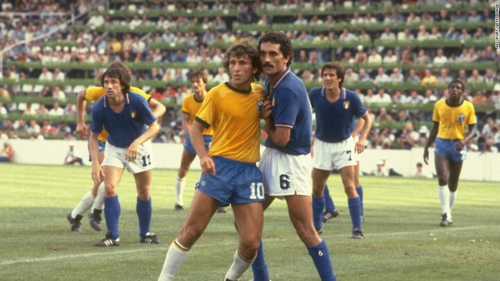 <strong>Italy 3-2 Brazil, 1982</strong><br />Brazilian Zico (#10) led probably the most hyped team not to win the World Cup, losing to an inspired Italian side backed    by bruising defender Claudio Gentile (#5) and a hattrick from Paulo Rossi. Given less than a 19% chance of winning, the result was Italy's biggest upset in tournament history, according to Gracenote.