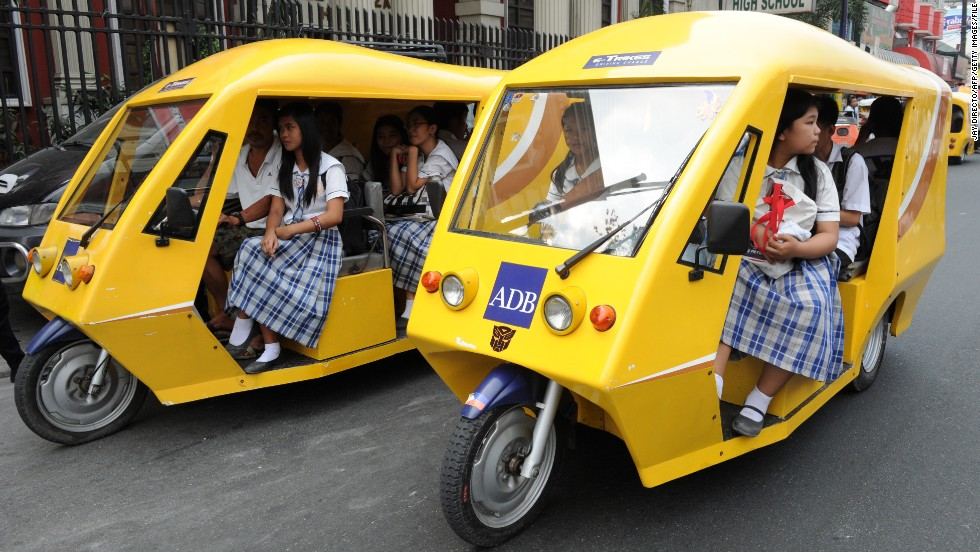 Amid air pollution concerns, the Philippines government is trying to replace 100,000 such taxis with electric ones.