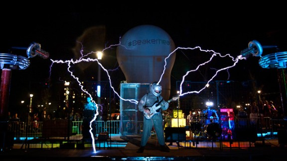 "Tesla coil music: ArcAttack's performances use two custom built ""singing"" Tesla coils, which have been hacked to produce tones when creator Joe DiPrima modulates the current."