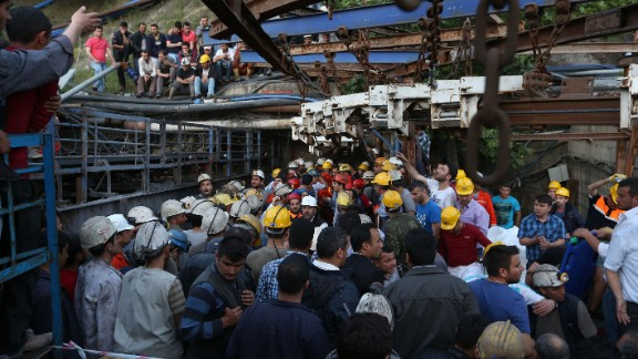 Rescue workers and relatives gather at the mine on May 13.