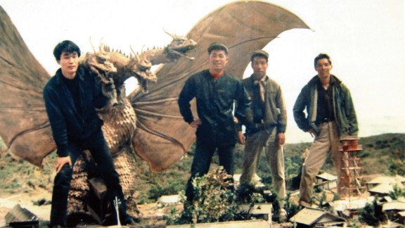 """Mechanical engineer Akinori Takagi, left, and members of the effects crew work on the 1964 film """"The Greatest Battle on Earth."""""""