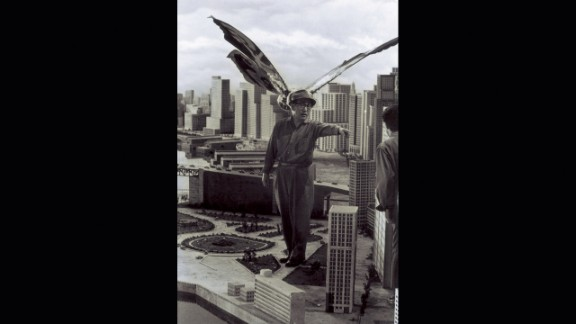 Tsuburaya supervises Mothra's attack on New Kirk City in 1961.