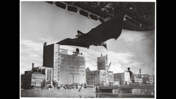"""Rodan descends upon Fukuoka City in 1956's """"Rodan."""" Since the title beast was a flying monster, Tsuburaya's crew had the opportunity to build more intricate and elaborate cityscapes than they had for """"Godzilla."""""""