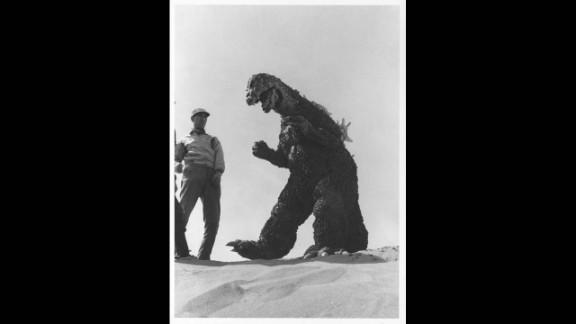 "Godzila on the beach, shooting a scene for the U.S. version of 1964's ""Mothra vs. Godzilla."""