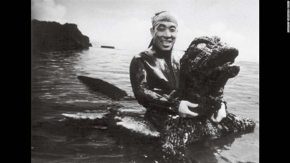 "Haruo Nakajima in the Godzilla costume from 1966's ""Big Duel in the South Seas."" By this time, he'd spent more than 10 years playing the role of Japan's most beloved monster."