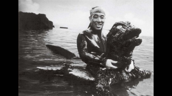 """Haruo Nakajima in the Godzilla costume from 1966's """"Big Duel in the South Seas."""" By this time, he'd spent more than 10 years playing the role of Japan's most beloved monster."""