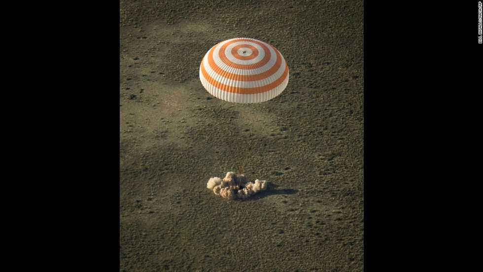 A Soyuz spacecraft is seen on May 13 as it lands in Kazakhstan with Wakata and other members of the his Expedition 39 crew.