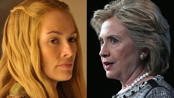 Cersei Lannister / Hillary Clinton: OK, so no one is saying Hillary has committed any of the vicious and morally obscene acts linked to Cersei. But when you see the formidable, intelligent queen struggle to assert her will in a male-dominated world and clean up her husband's mess, one could see how Cersei could empathize with Hillary's challenges. Both are women who decided they would not stay home and bake cookies.