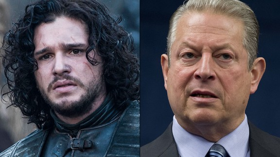 """Jon Snow / Al Gore: Snow, the bastard son of one of the show's most honorable characters, has better hair than Gore, but both shared the same mission. Snow is trying to warn his countrymen an environmental apocalypse is approaching; Gore tried to do the same with """"An Inconvenient Truth."""" His global warming message is still disputed by conservative media and many Americans. Their response: """"You know nothing, Al Gore."""""""