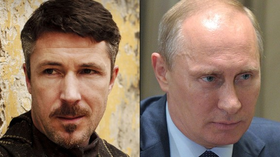 """Petyr """"Littlefinger"""" Baelish / Vladimir Putin: If Baelish could see Putin's deft maneuvering in Ukraine, he might smile in recognition of a kindred spirit in action. The diabolical adviser to the king is a master of using soft and hard power -- violence, appeals to honor, economic leverage -- to achieve results. Putin seized control of parts of Ukraine by taking advantage of the country's unrest. Both understand, as Baelish says, that chaos """"is a ladder"""" to power."""