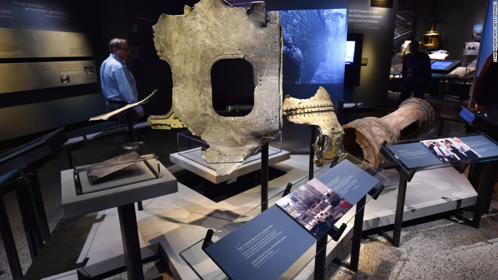 Pieces of American Airlines Flight 11 are on display. The plane plowed into the North Tower of the World Trade Center at 8:46 a.m. on September 11, 2001.