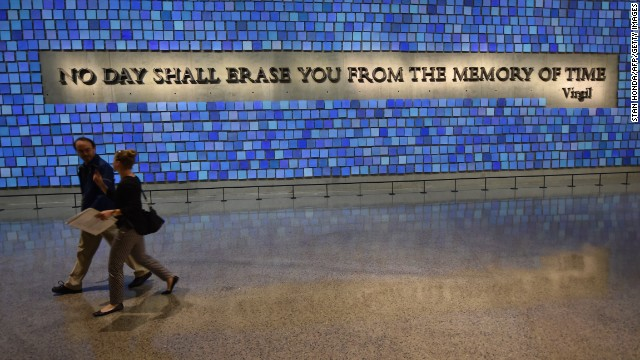 A quote from Virgil seen during a press preview of the National September 11 Memorial Museum at the World Trade Center site May 14, 2014 in New York. AFP PHOTO/Stan HONDA        (Photo credit should read STAN HONDA/AFP/Getty Images)