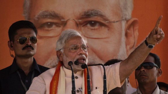 BJP leader Narendra Modi gestures during his speech at a rally by the leader on May 8 in Rohaniya, near Varanasi India.