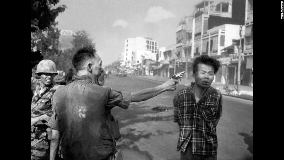 South Vietnamese Gen. Nguyen Ngoc Loan, chief of the national police, executes suspected Viet Cong officer Nguyen Van Lem — also known as Bay Lop — on a Saigon street on February 1, 1968. It was early in the Tet Offensive, one of the largest military campaigns of the Vietnam War.