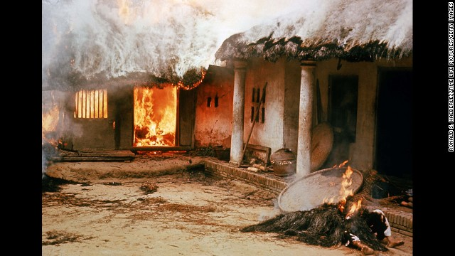 Houses burned by American soldiers during the My Lai massacre on March 16, 1968 in My Lai, South Vietnam.  (Photo by Ronald S. Haeberle//Time Life Pictures/Getty Images)