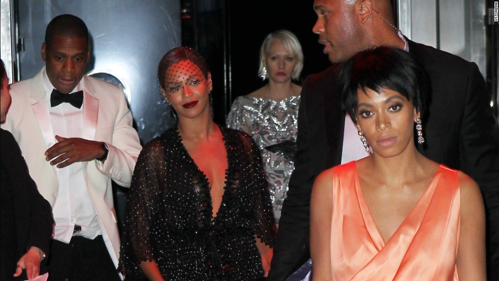 "Rapper Jay Z, at left in the white jacket, and his sister-in-law Solange Knowles, at right in the orange dress, <a href=""http://www.cnn.com/2014/05/12/showbiz/celebrity-news-gossip/jay-z-solange-beyonce/index.html"">reportedly had an altercation</a> at a Met Gala after-party Monday, May 5, at New York's Standard Hotel. Security camera footage that appeared on TMZ this past week doesn't tell the whole story, but there are plenty of pictures of the two leaving the party along with Jay Z's wife, Beyonce. <a href=""http://www.cnn.com/2014/05/13/showbiz/gallery/jay-z-solange-beyonce/index.html"">See more photos that were taken after the alleged tussle</a>"