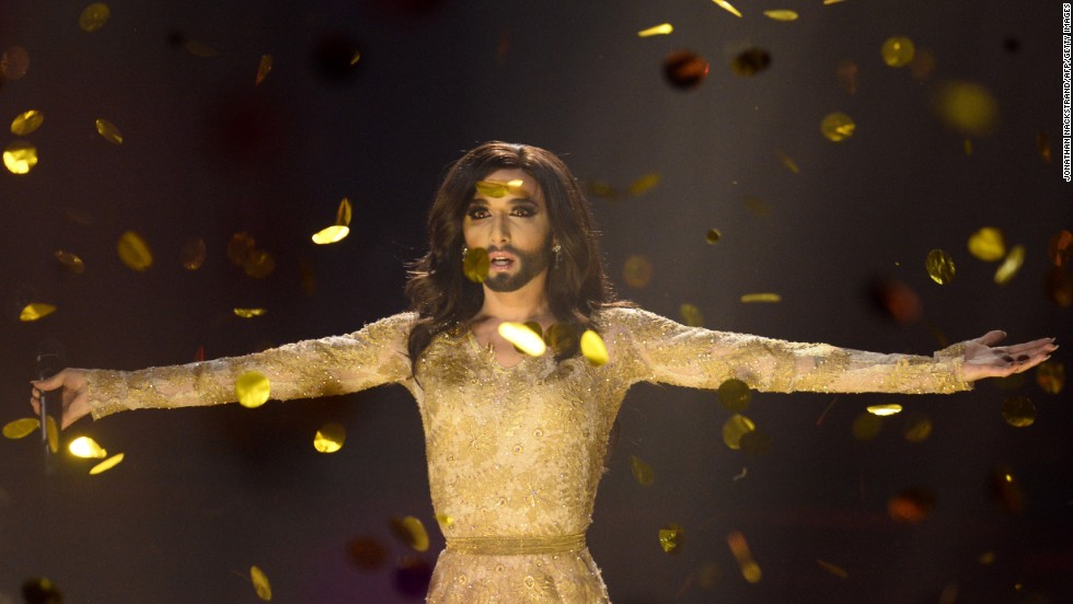 "Conchita Wurst performs the song ""Rise Like a Phoenix"" after <a href=""http://www.cnn.com/2014/05/11/world/europe/eurovision-ukraine-russia-conchita-wurst/index.html"">winning the Eurovision Song Contest</a> on Saturday, May 10. Wurst, the onstage drag persona of Thomas Neuwirth, is Austria's first Eurovision winner since 1966."
