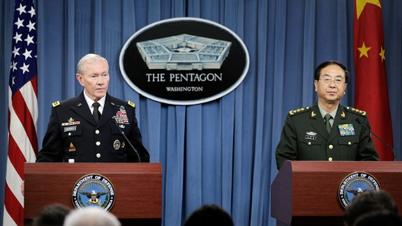 Joint Chiefs Chairman Gen. Martin Dempsey and his Chinese counterpart, Gen. Fang Fenghui, expressed opposing views of who is to blame for the broadening tensions.