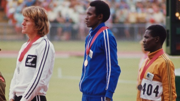 However, Bayi, pictured here during the medal ceremony at the 1974 Commonwealth Games, says that many forget his achievements because he never took a medal at the Olympic Games.