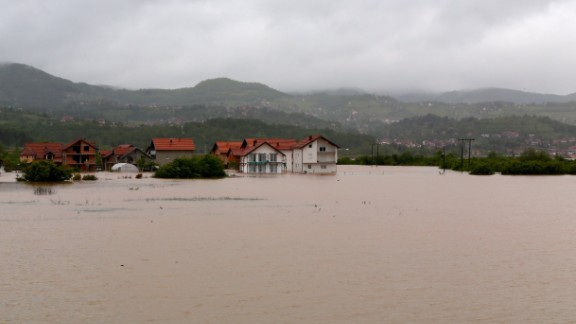 Homes are flooded May 15 after rivers overflowed in Sarajevo, Bosnia-Herzegovina.