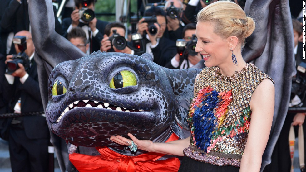 "Actress Cate Blanchett appears with a dragon for the ""How To Train Your Dragon 2"" premiere on Friday, May 16."