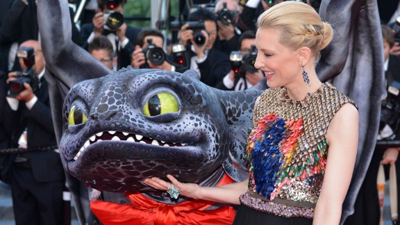 """Actress Cate Blanchett appears with a dragon for the """"How To Train Your Dragon 2"""" premiere on Friday, May 16."""