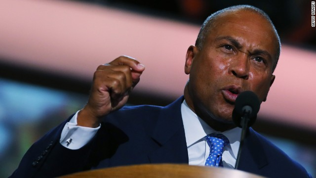 Massachusetts Gov. Deval Patrick took office three years after the state legalized same-sex marriage.