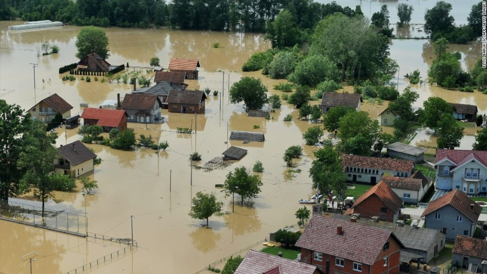 An aerial photo shows the flooding in Brcko, Bosnia-Herzegovina, on May 18.