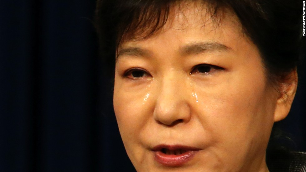 South Korean President Park Geun-hye weeps while delivering a speech to the nation about the sunken ferry Sewol at the presidential Blue House in Seoul, South Korea, on Monday, May 19. More than 200 bodies have been found and nearly 100 people remain missing after the ferry sank April 16 off South Korea's southwest coast.