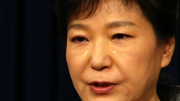 South Korean President Park Geun-hye weeps while delivering a speech to the nation about the sunken ferry Sewol at the presidential Blue House in Seoul, South Korea, on Monday, May 19. More than 200 bodies have been found and nearly 100 people remain missing after the ferry sank April 16 off South Korea