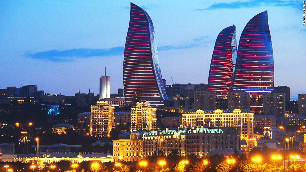 Flame Towers is the tallest skyscraper in Azerbaijan. The towers are completely covered with LED screens displaying the movement of fire and creating the effect of giant torches. The design was inspired by Azerbaijan's history as a land of fire, due to its rich deposits of natural gas.