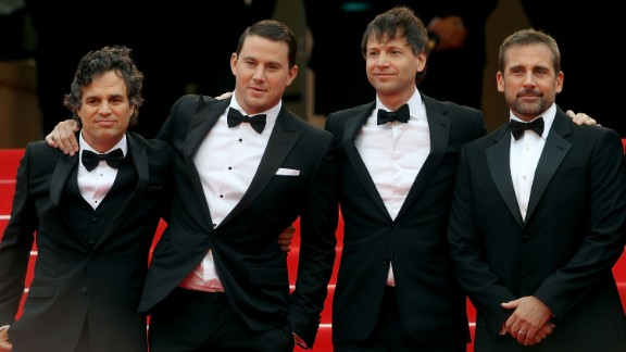 """From left, actor Mark Ruffalo, actor Channing Tatum, """"Foxcatcher"""" director Bennett Miller and actor Steve Carell on May 19"""