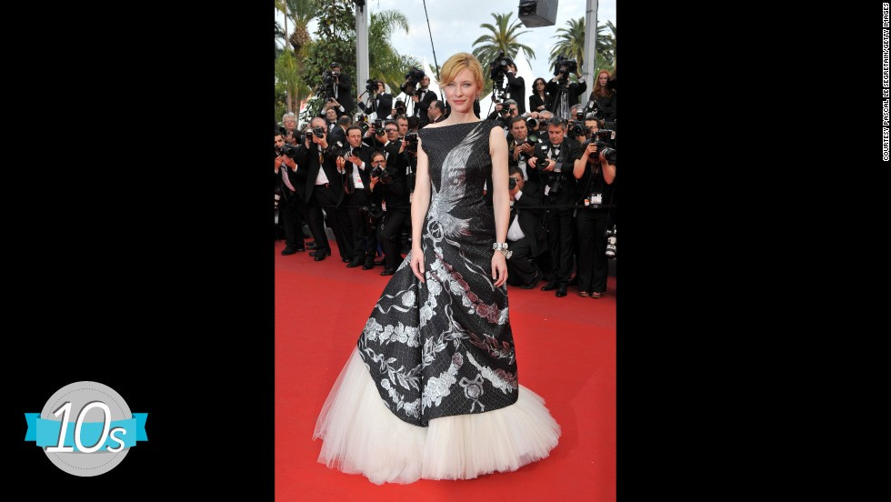Cate Blanchett honoured designer Alexander McQueen by wearing this monochrome dress from his pre-fall 2010 collection. Rumor has it that the late designer earmarked this dress for the actress before his death in February that year.