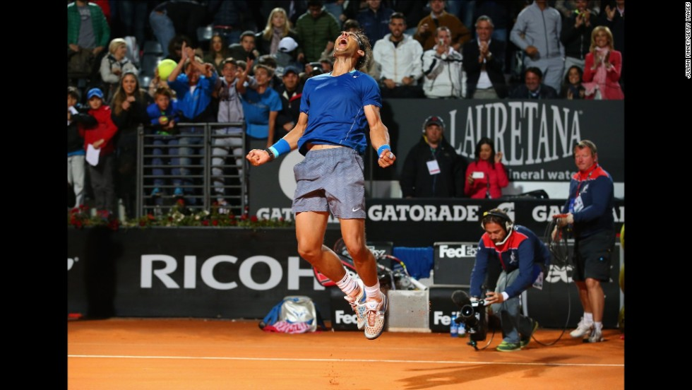 Rafael Nadal celebrates Friday, May 16, after defeating Andy Murray in the quarterfinals of the Italian Open in Rome. Nadal would eventually advance to the tournament final, which he lost to Novak Djokovic.