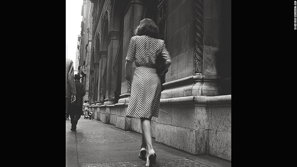 "<em>Street Conversations -- Woman walking down the street, 1946</em><br /><br />Born in the Bronx in 1928, Kubrick later spent time photographing pedestrians in the borough. ""It's very, very cinematic,"" says Ortner-Kreil. ""Who is this lady and where is she going?""<br /><br />This, and all the other images in the exhibition, come from the archives of the  Museum of the City of New York. When <em>Look </em>magazine shut down in 1971, it donated its negatives, including Kubrick's, to that museum and the Library of Congress in Washington."