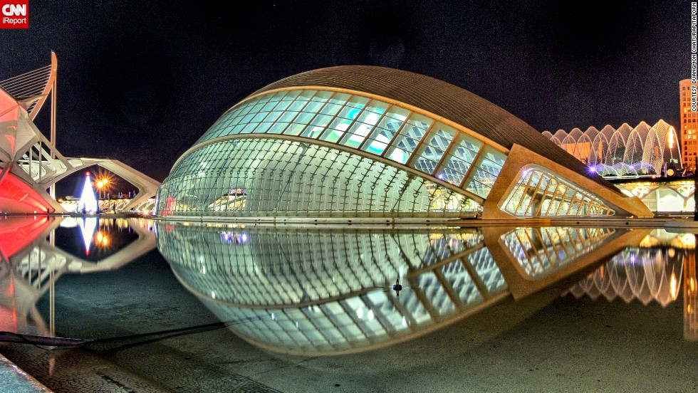 "The <a href=""http://www.cac.es/hemisferic/"" target=""_blank"">L'Hemisferic</a> planetarium in Valencia, Spain, is an attraction at the City of Arts and Sciences compound. The building resembles a large human eye, says <a href=""http://ireport.cnn.com/docs/DOC-1126235"">Duangmon Chaturapitaporn</a>, who shot this photo in 2011. The building is surrounded by water ""to create the illusion of the eye as a whole."""