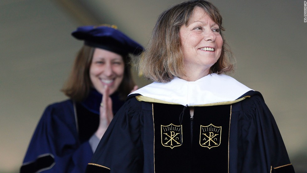 "Jill Abramson, former executive editor of The New York Times, received an honorary doctorate during the commencement ceremony at Wake Forest University in Winston-Salem, North Carolina, on May 19. It was <a href=""http://money.cnn.com/2014/05/19/news/companies/abramson-speech/"">Abramson's first public appearance</a> since her dismissal from The New York Times."