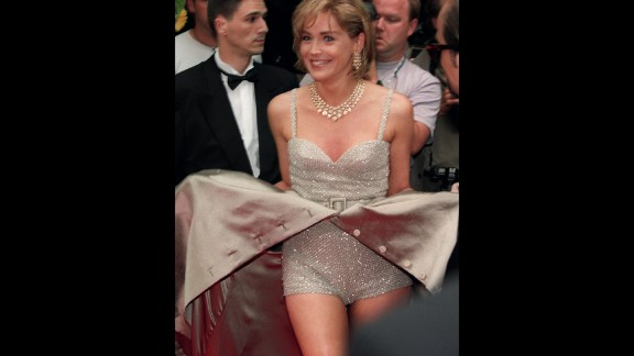 Sharon Stone created an iconic Cannes moment in 1995 by unceremoniously opening up her Valentino gown to reveal a sequin playsuit, as she arrived at the screening of Doublas Keeve