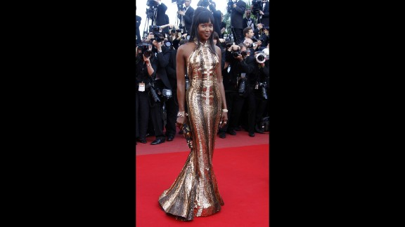"""Naomi Campbell lit up the red carpet in this discoball of a dress, which is custom made Robert Cavalli, as she arrived for the screening of """"Biutiful"""" in 2010."""