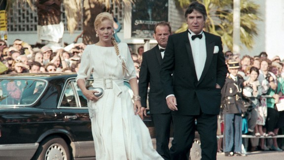 Monochrome pair French singer Sylvie Vartan, one of the most productive yé-yé artists, and her husband U.S. producer Tony Scotti arrive in style at the Cannes festival in 1987.