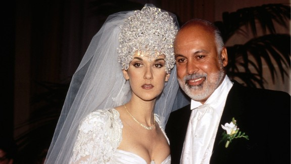 Celine Dion married manager René Angélil in 1994 in Montreal. Her dress reportedly had a 20-foot train, and she wore a 7-pound tiara made up of thousands of Austrian crystals.