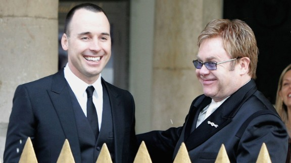 Elton John and David Furnish enjoyed a civil partnership ceremony at Windsor Guildhall in Windsor, England, in 2005. The two married at the end of 2014.