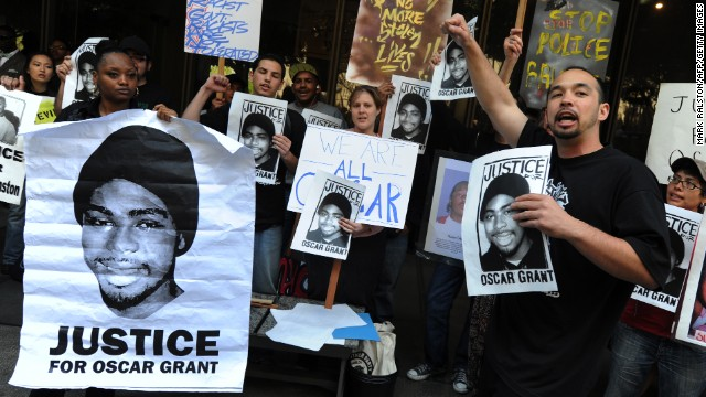Aidge Patterson of the LA Coalition for Justice for Oscar Grant leads a protest rally in Oakland, California.