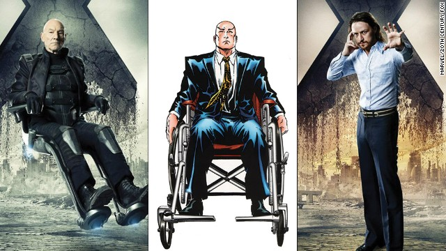 Professor X has been played by actors Patrick Stewart, left, and James McAvoy, right.